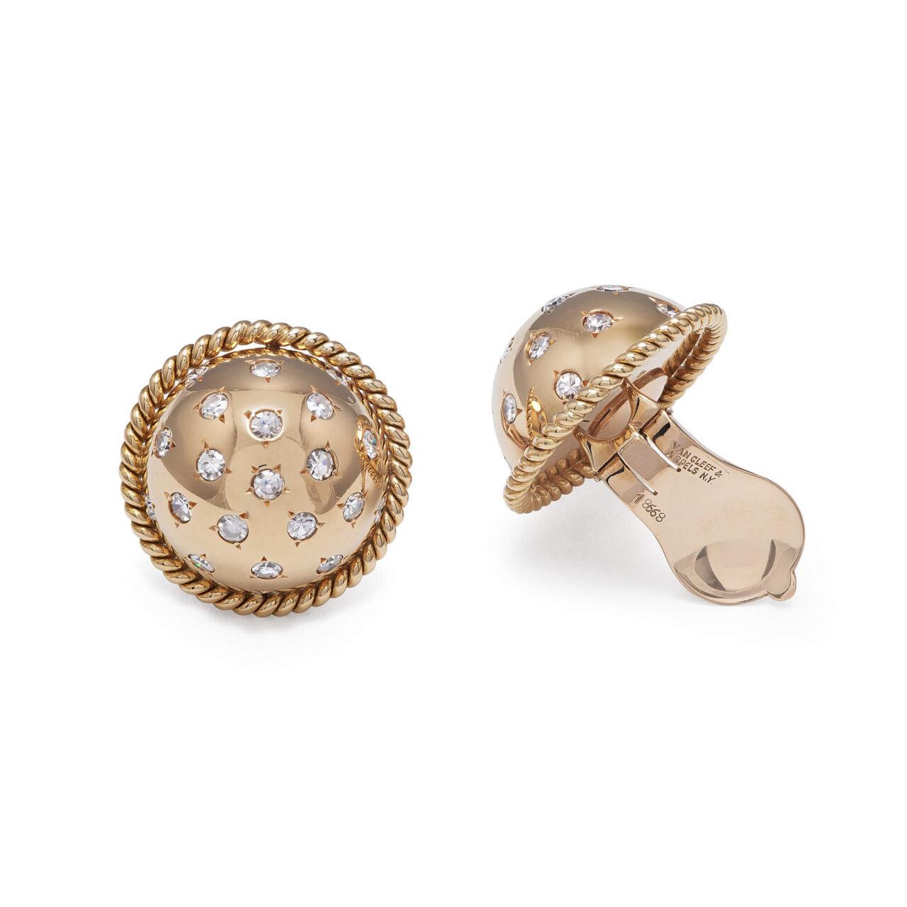 Orecchini di Van Cleef & Arpels NY d'epoca in oro giallo con diamanti