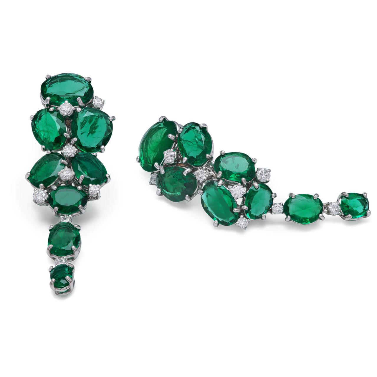 Platinum Earrings with Diamonds and Zambian Emeralds