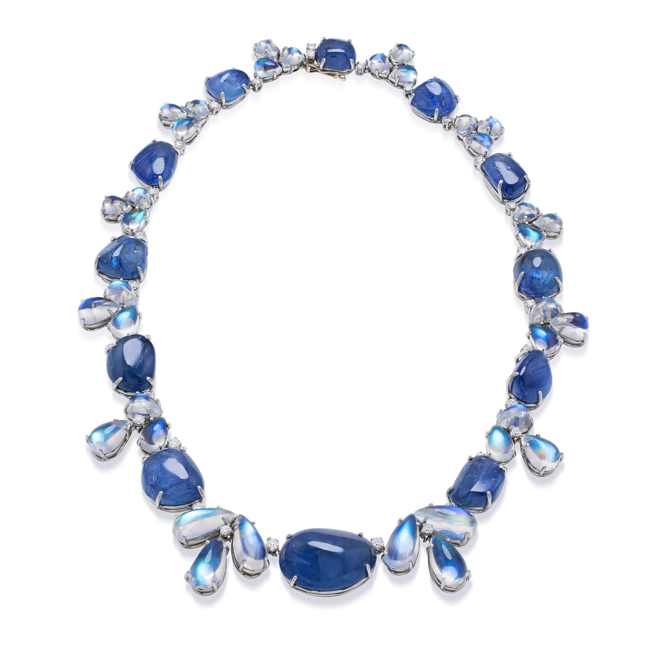 Platinum Necklace with Moonstones, Sapphires and Diamonds