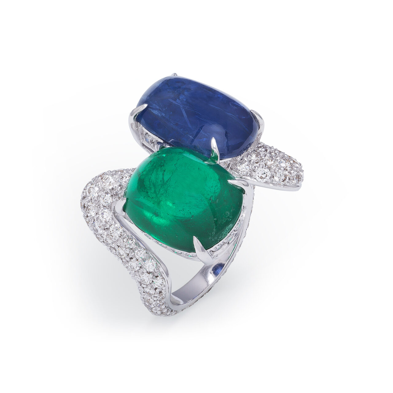 White gold ring with Burma Sapphire, Columbia Emerald and Diamonds