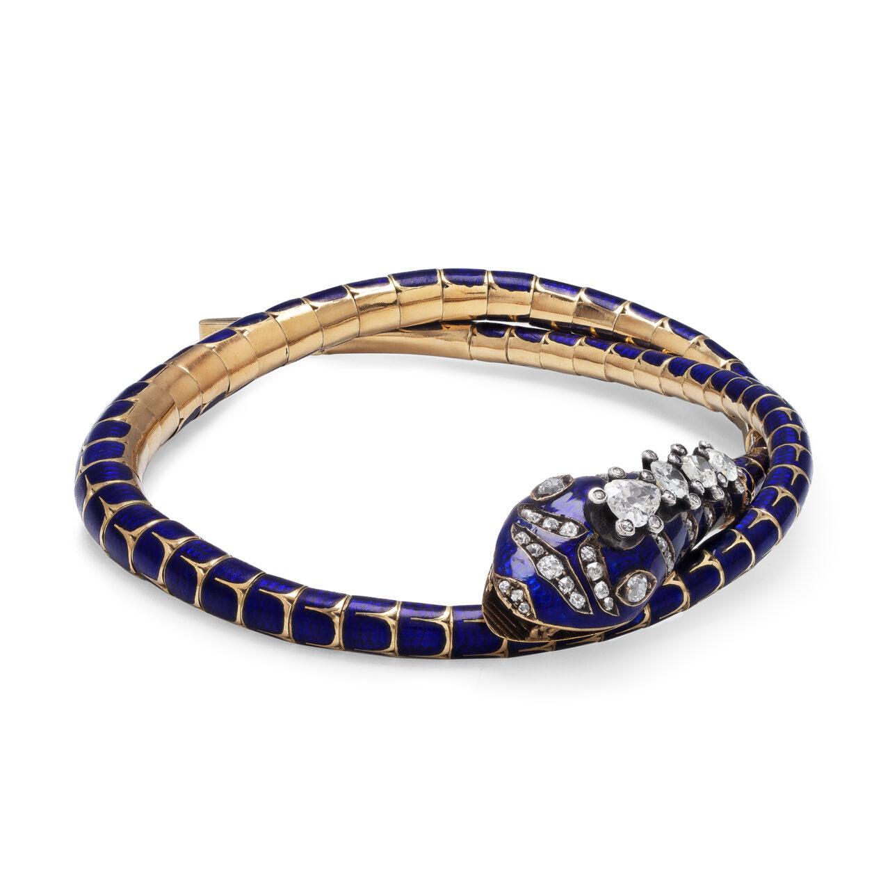 Collana in oro giallo di metà 800 a forma di Serpe smaltata e diamanti