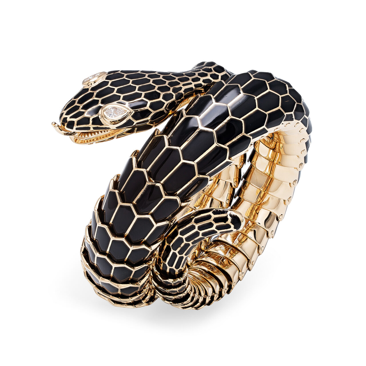 Bracciale Serpente vintage in oro giallo e diamanti