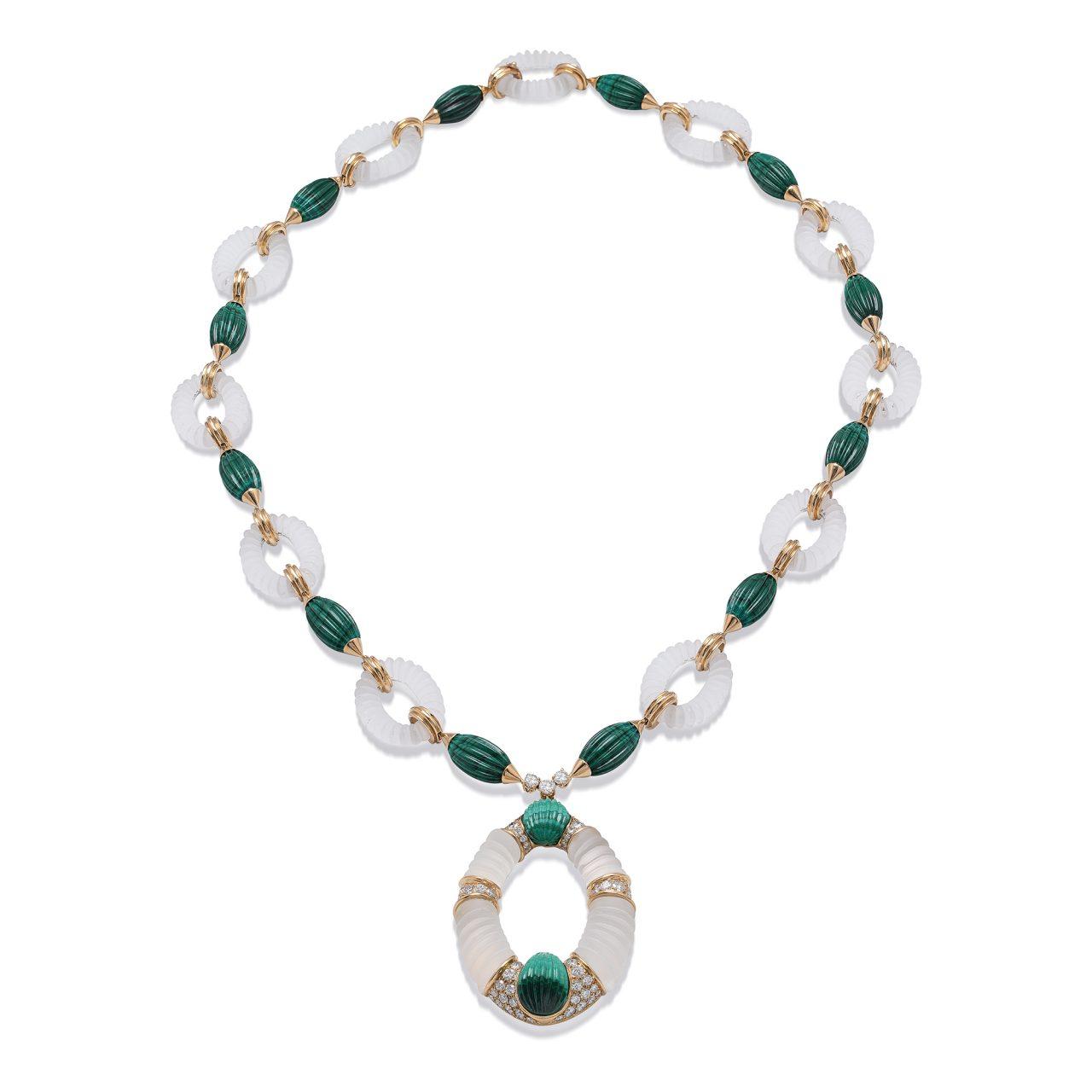 Collana di FRED in parure in Oro Giallo con Cristallo di Rocca, Malachite e Diamanti