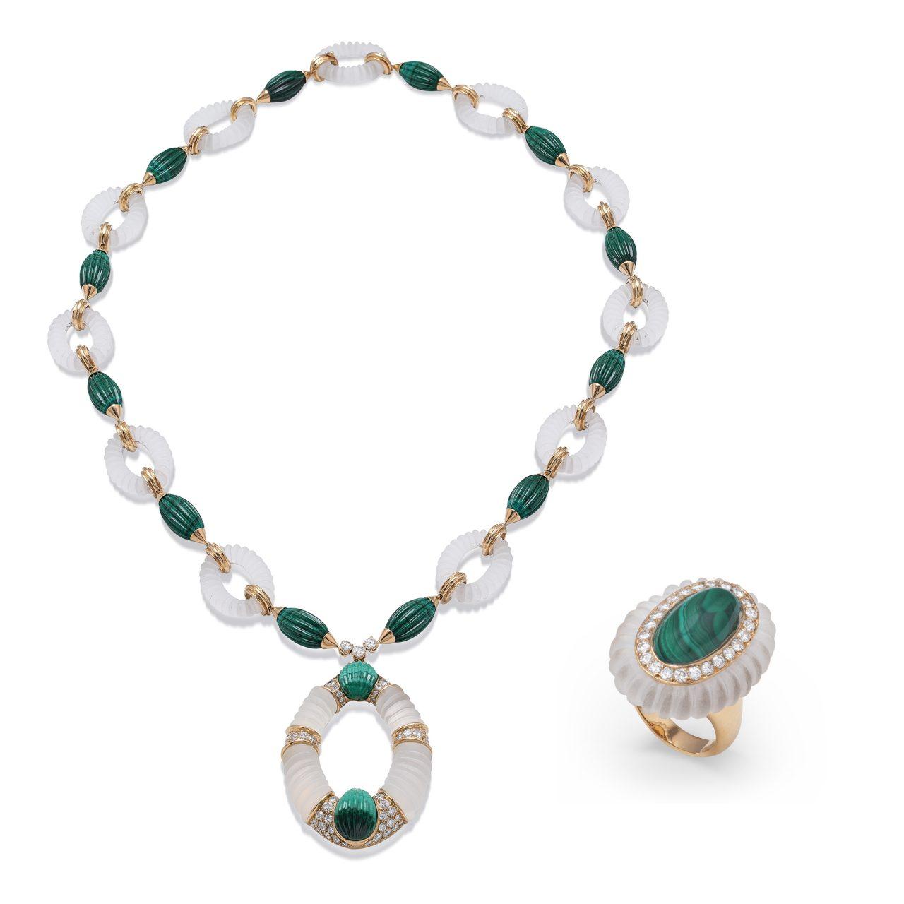 Collana e Anello di FRED in parure in Oro Giallo con Cristallo di Rocca, Malachite e Diamanti