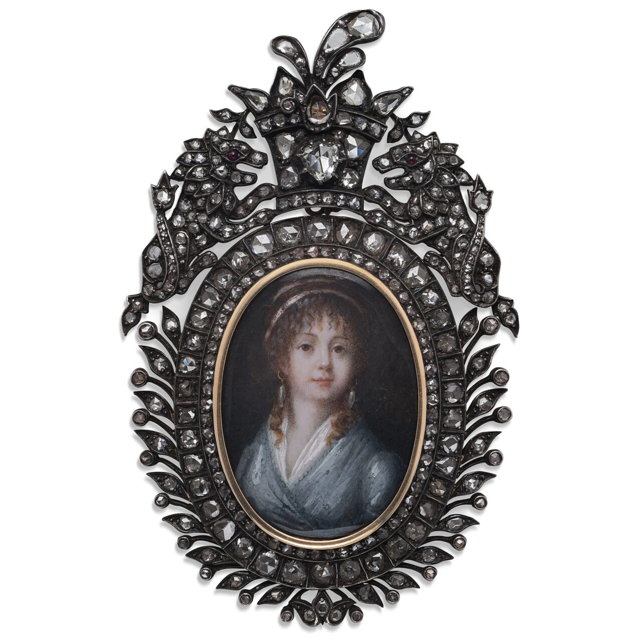 Miniatura del 1830 in argento con diamanti e rubini