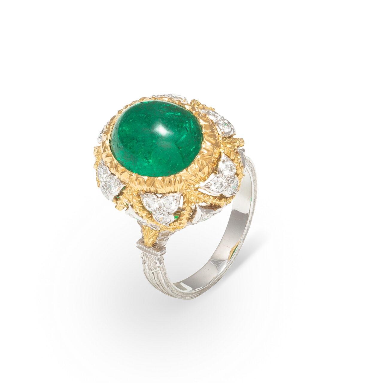 Anello di Buccellati in oro bianco e giallo 18k con Smeraldo e Diamanti