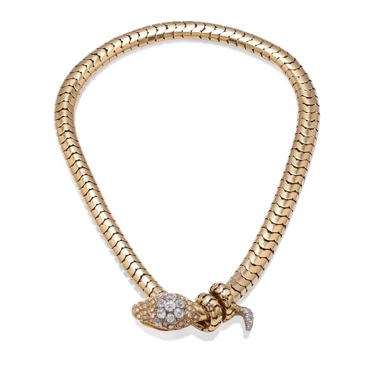 Gioiello d'epoca di Carlo Illario in oro giallo 18k con diamanti