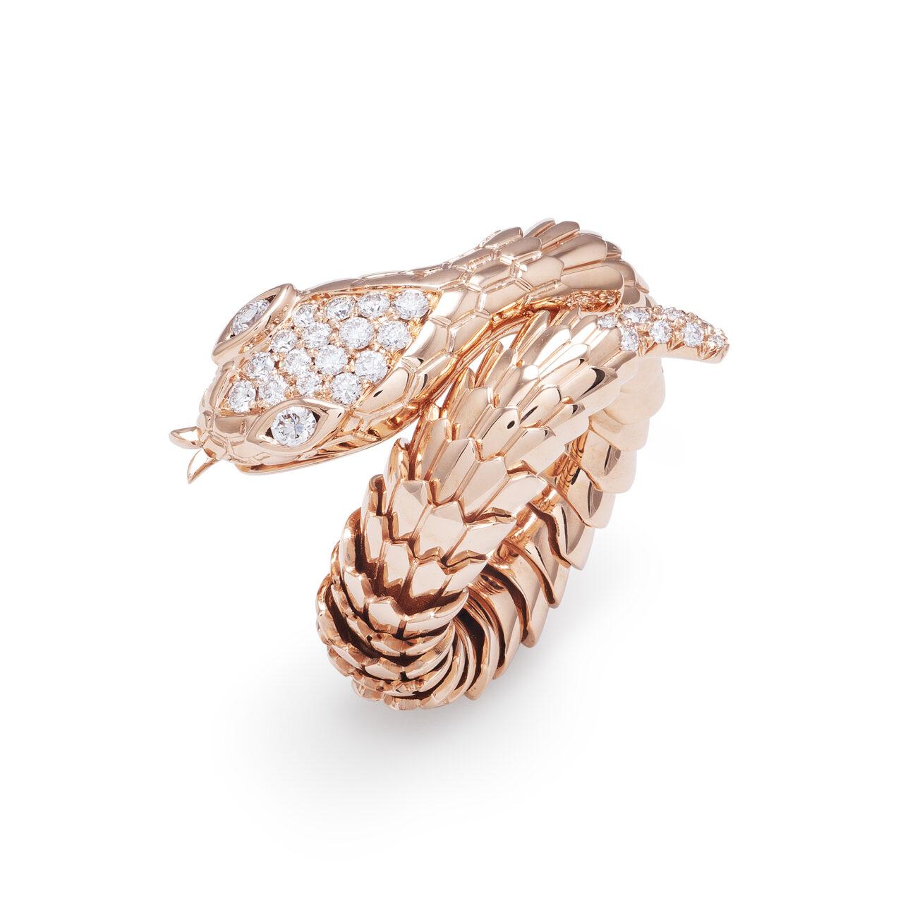 Anello Serpente in oro rosa con diamanti