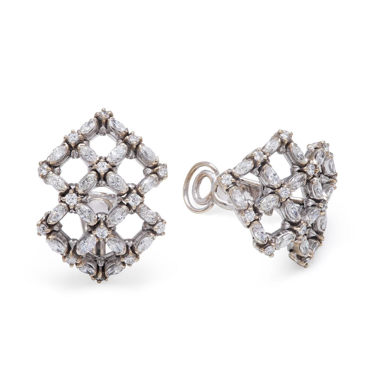 Orecchini d'epoca in oro bianco e diamanti