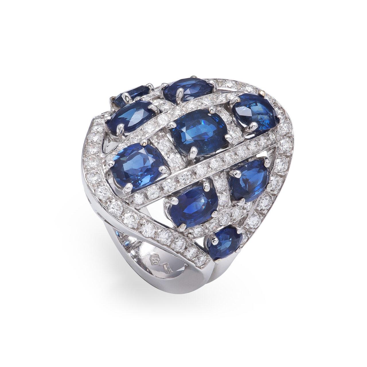 Anello in oro bianco 18k con Zaffiri e diamanti