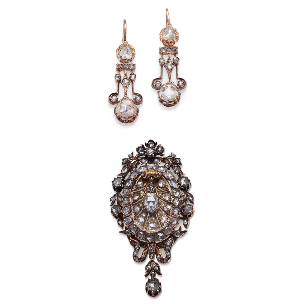 Parure Orecchini e Spilla Antichi in oro diamanti