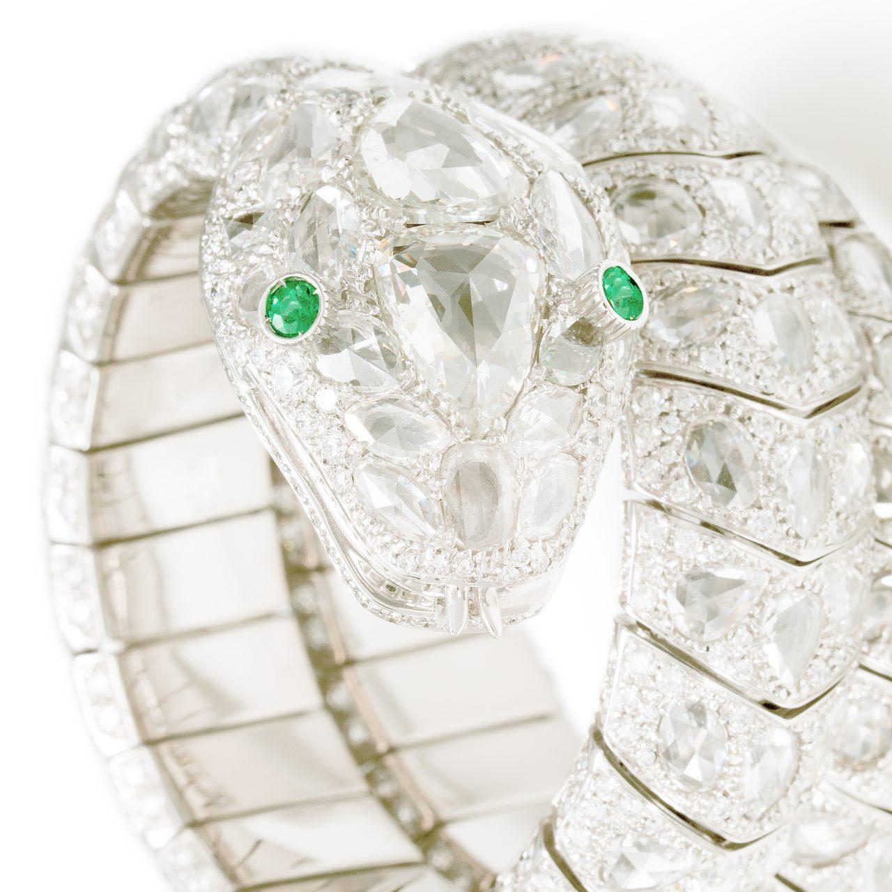 Illario Bracciale Serpente in oro bianco con Diamanti e Smeraldi