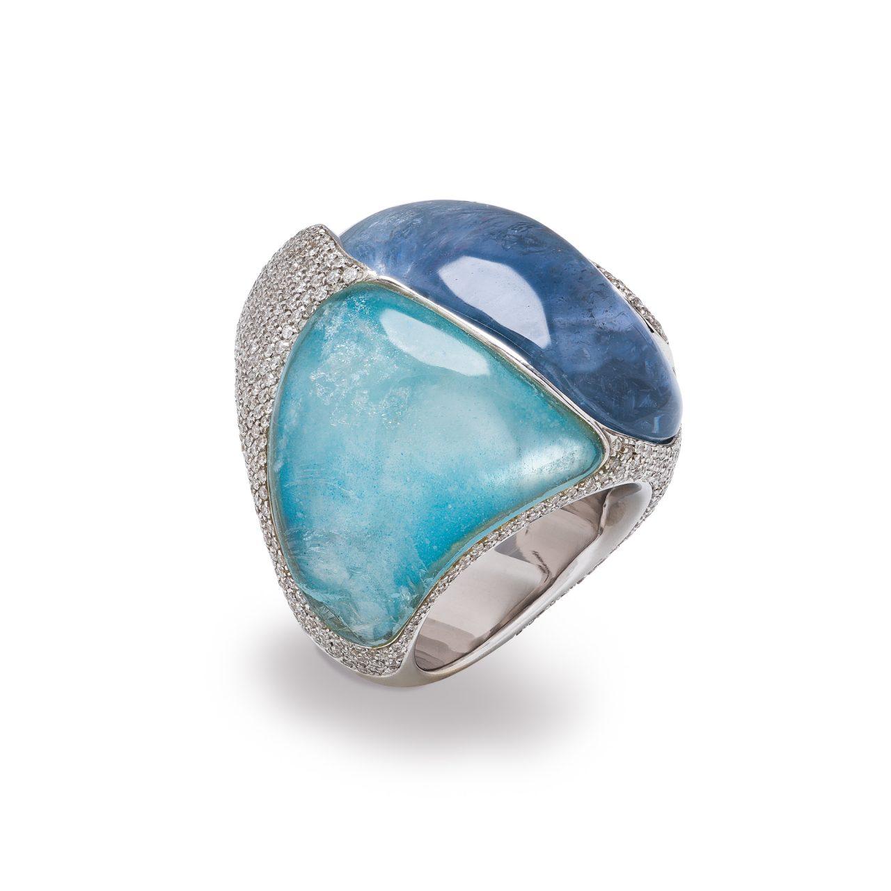 18k white gold ring with Burma Sapphire, Aquamarine and Diamonds