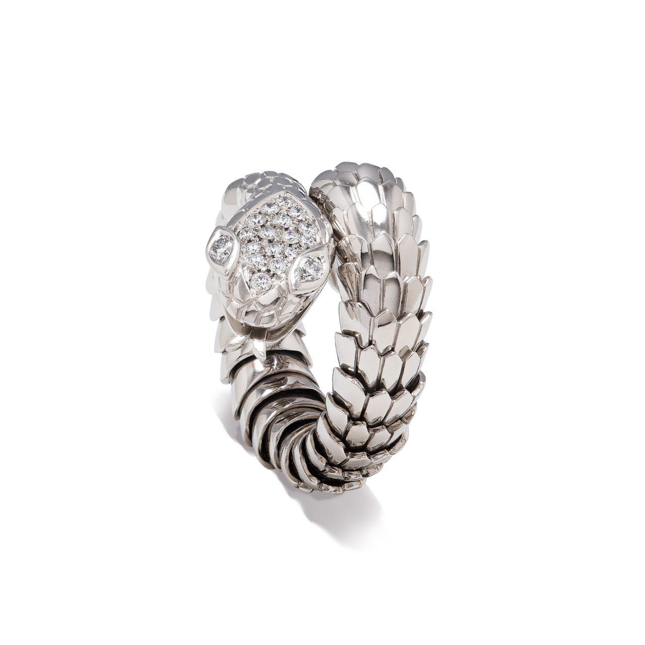 Anello serpente di Illario in Oro Bianco 18k e diamanti
