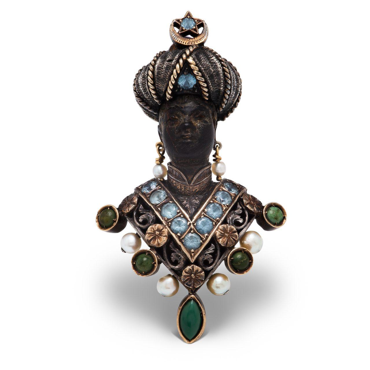 """Nardi spilla """"moretto"""" in oro e argento con ebano turchesi e perle"""