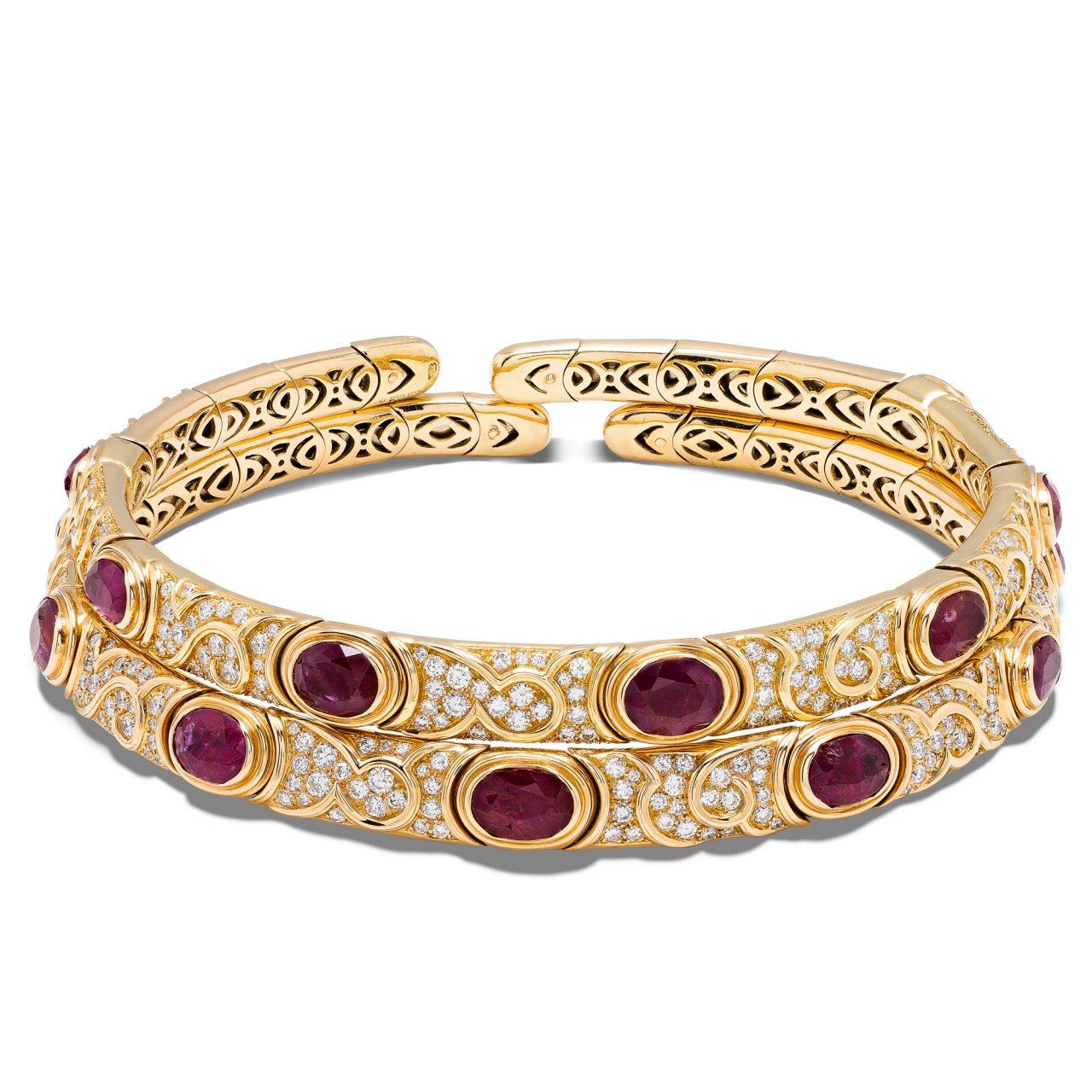 Choker di Marina B. in oro giallo 18k con Rubini e Diamanti