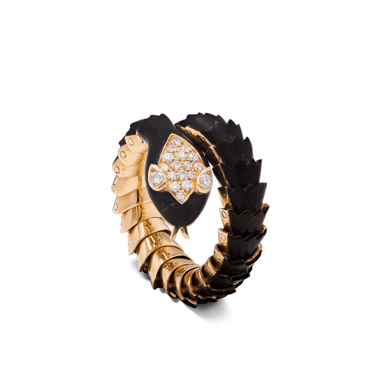 Illario Anello serpente in oro giallo 18k ebano e diamanti