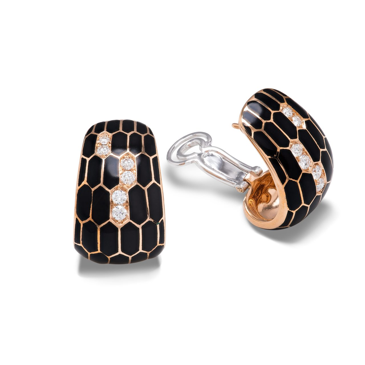 Illario orecchini serpente in Oro Giallo 18k smaltato con diamanti