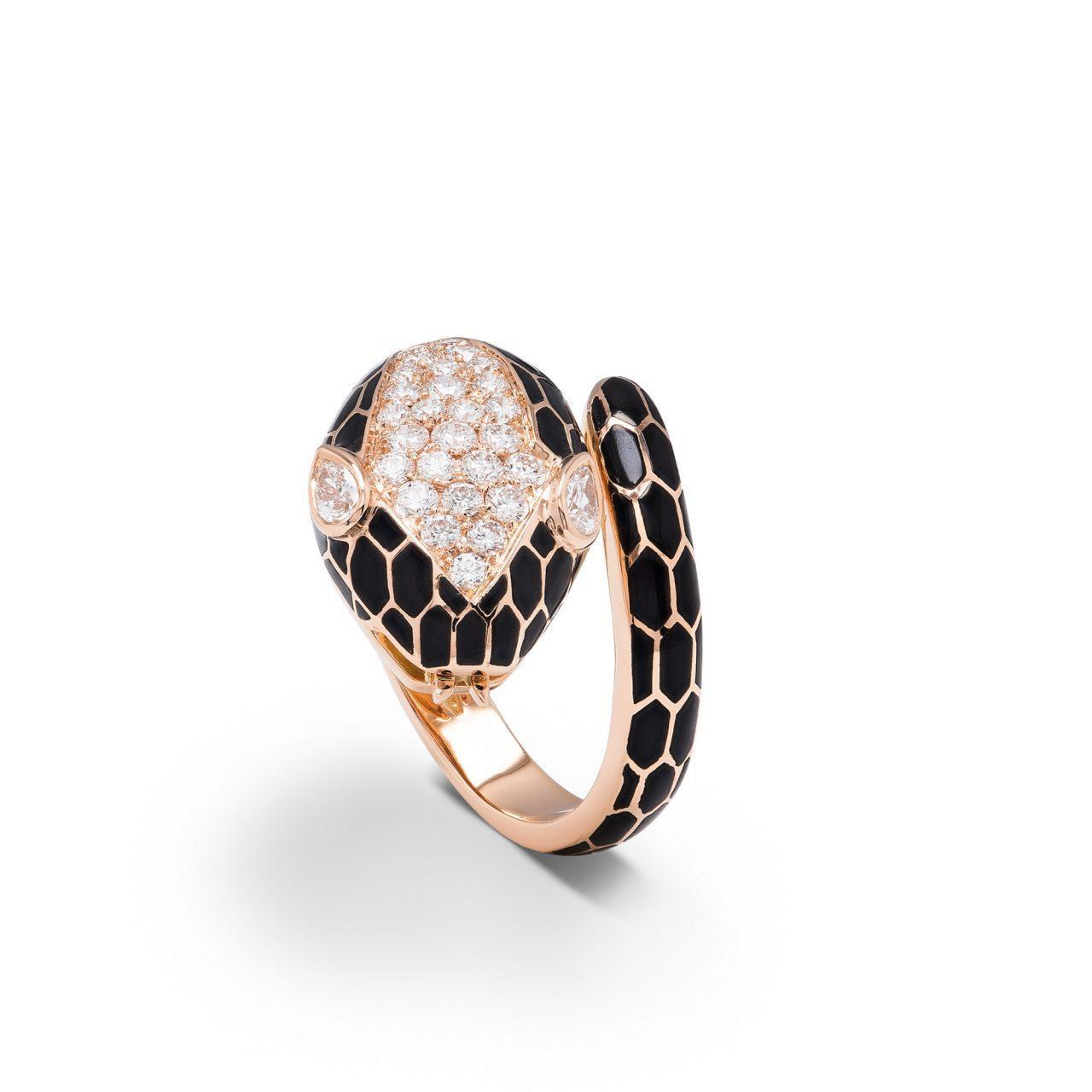 Illario anello serpente in Oro Rosa 18k smaltato con diamanti