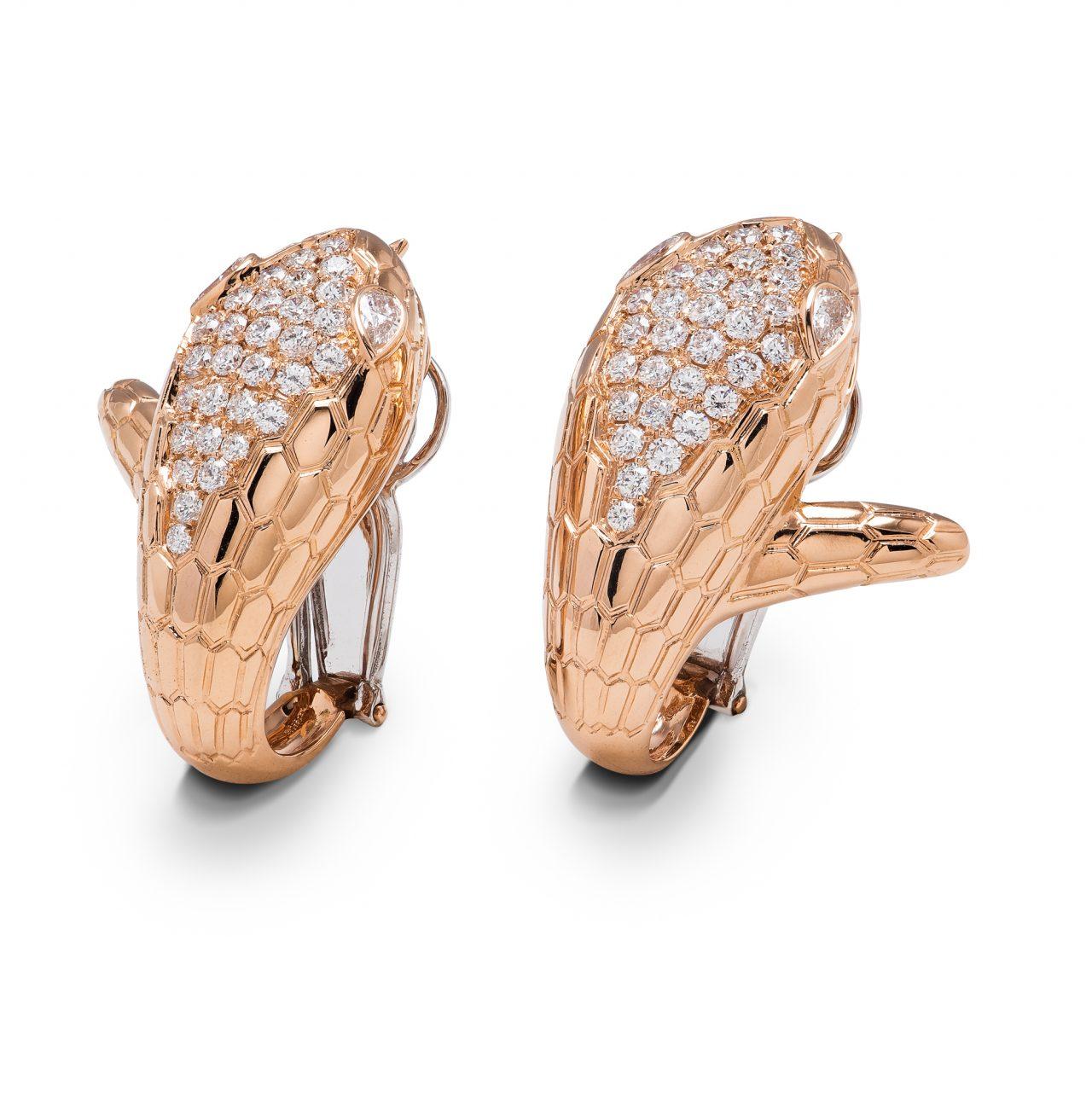 Illario orecchini Serpente in Oro Giallo 18k con diamanti