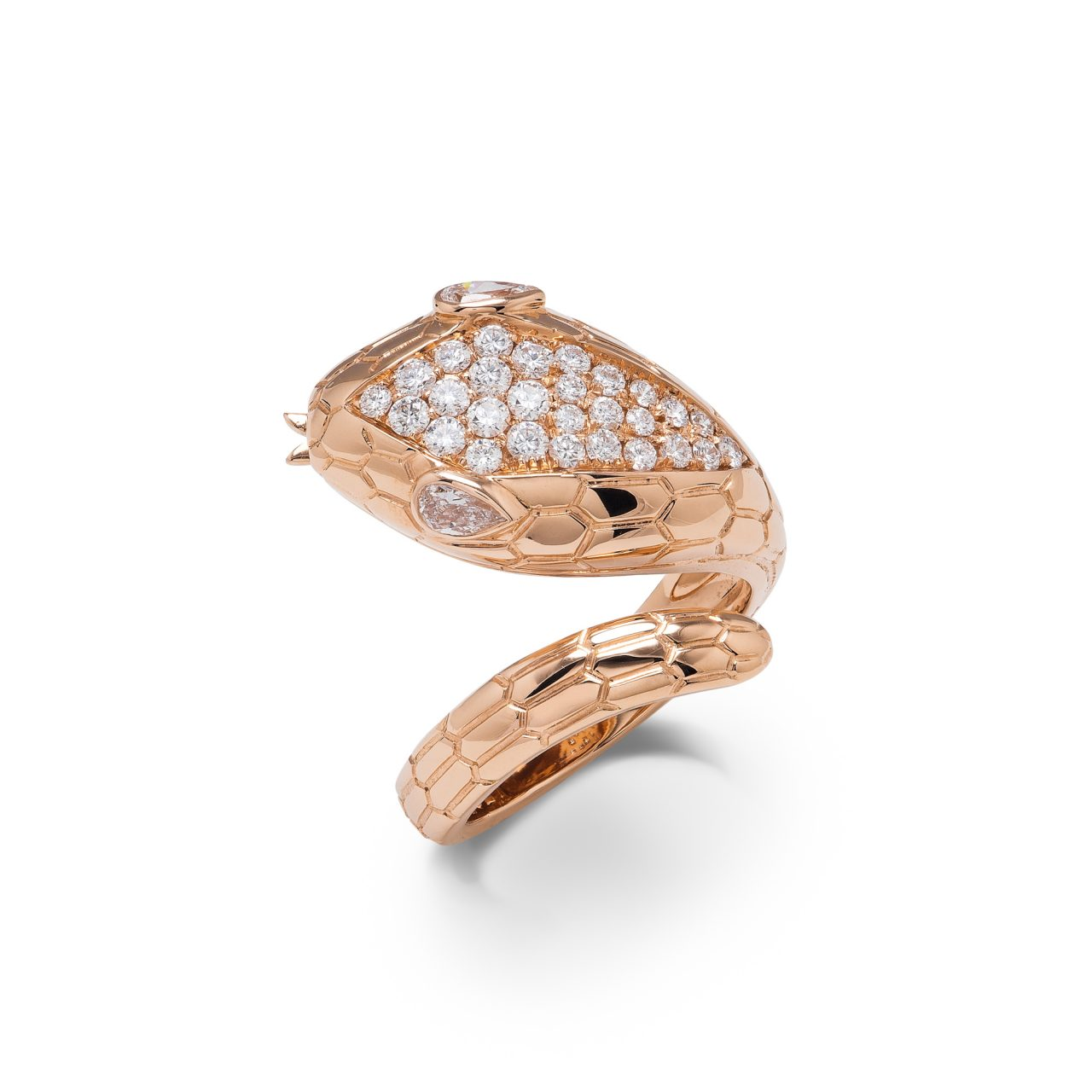 Illario anello Serpente in Oro Rosa 18k con diamanti