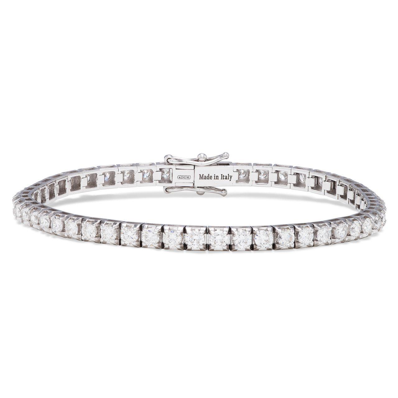 18k white gold tennis bracelet with 4,59 ct diamonds
