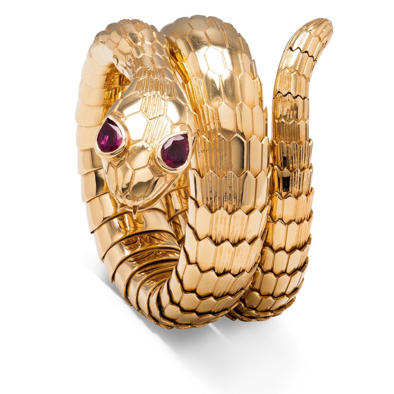Illario Bracciale Serpente in oro giallo 18k con Rubini