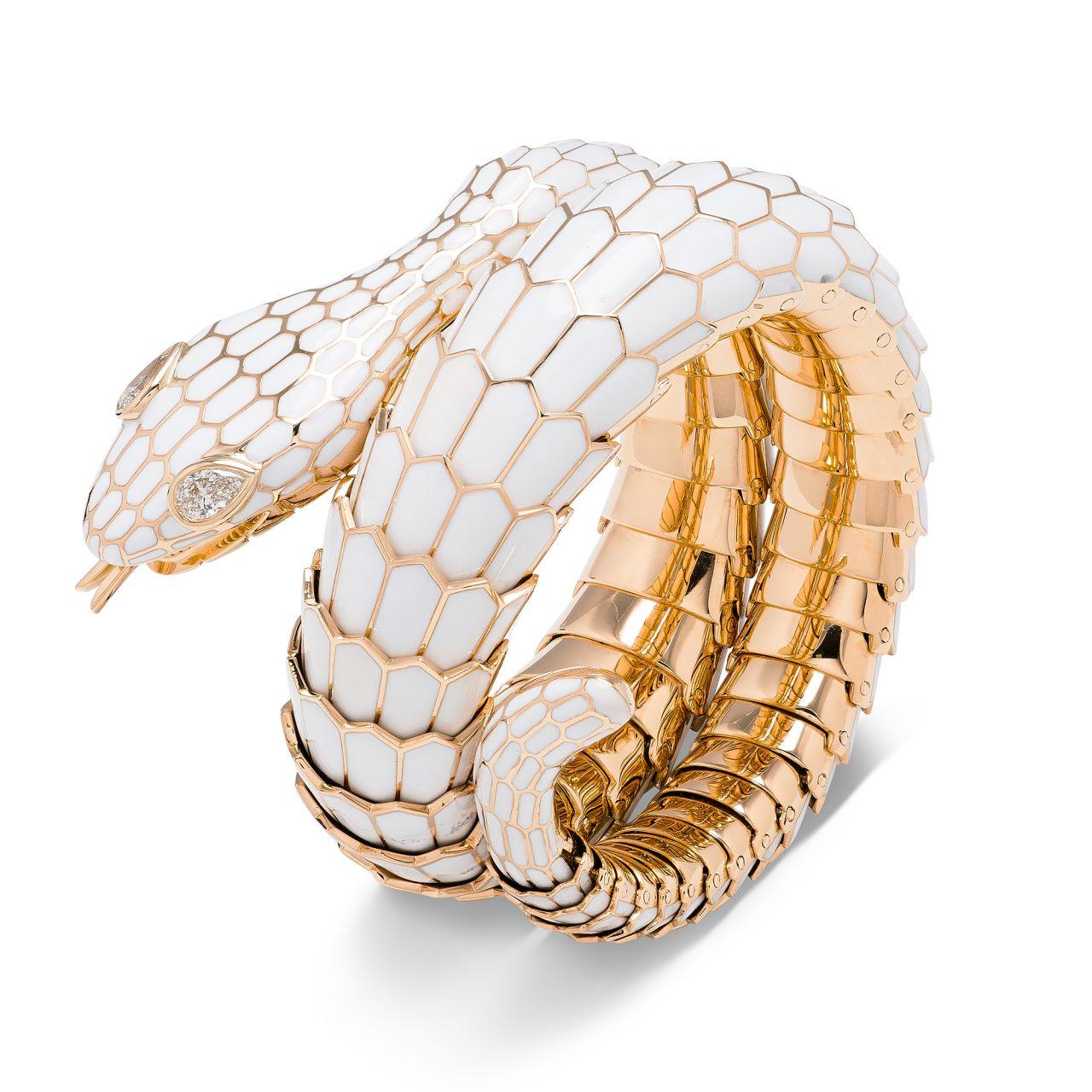 Bracciale Serpente in oro giallo 18k Smaltato bianco con diamanti