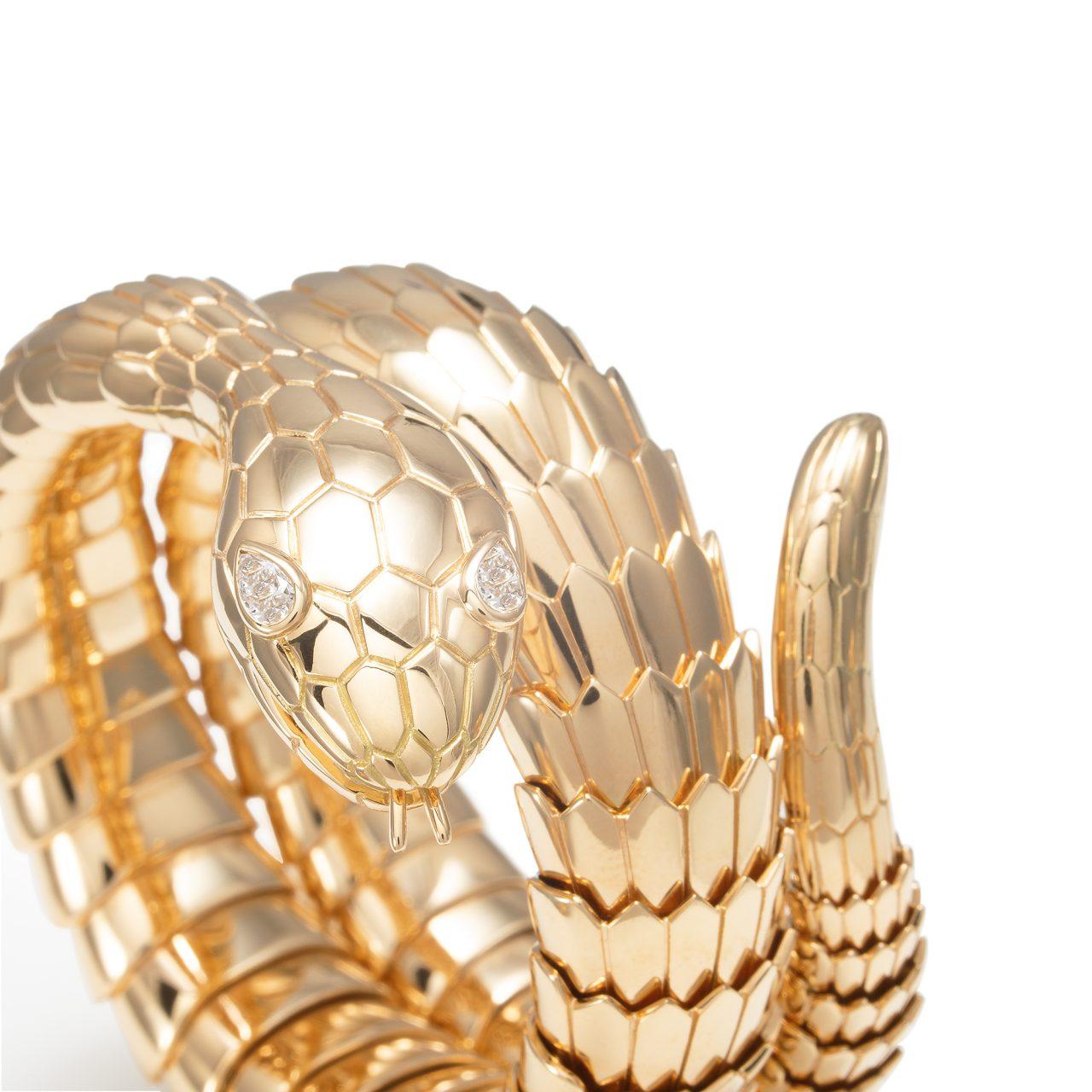 Illario bracciale a Serpente in oro giallo 18k e diamanti